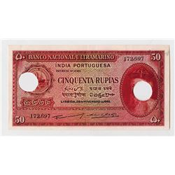 Banco Nacional Ultramarino - India Portuguesa, 1945 Banknote.