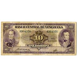 Banco Central de Venezuela. 1945. Issued Banknote.