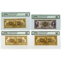 Banco Central de Venezuela. 1954-1960. Quartet of Issued Banknotes.
