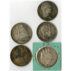 France & French Indo-China, 1806-1900, Quintet of Silver Coins.