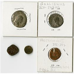 Roman Empire, 3rd-4th Century AD, Quintet of Coins.
