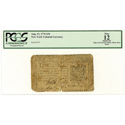 New York Colonial Currency, 1776, $10, Issued Colonial Note.