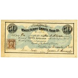 Maux Ferry Gravel Road Co., 1868 $50 Obsolete Banknote - Bond.