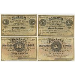 Conant's Dry Goods Store, 1862 & 1863 Obsolete Remainder Scrip Note Quartet.