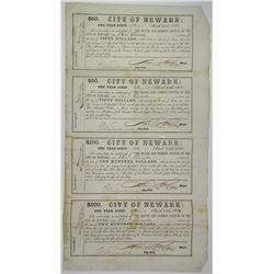 City of Newark, 1865 One Year Scrip Uncut Sheet of 4 notes.