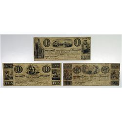 Woodbury, NJ. Camden & Woodbury Rail Road & Transportation Co. 1837 Obsolete Banknote Trio.