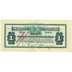 Traders & Travelers Union Cooperative - Chemical National Bank of NY 1886 Specimen Scrip Note.