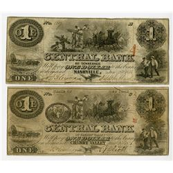 NY., Central Bank of Cherry Valley; and Nashville, TN., Central Bank of Tennessee. 1855. Pair of Obs