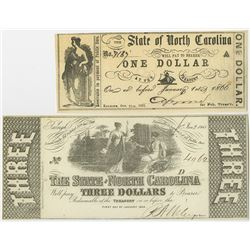 State of North Carolina, 1861 & 1863 Obsolete Banknote Pair.