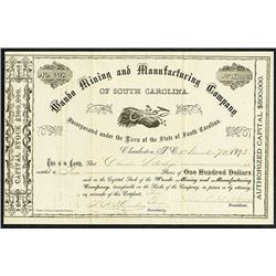 Wando Mining and Manufacturing Co., 1873 I/U Stock