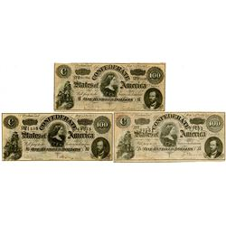 C.S.A., 1864 $100 Banknote Trio.