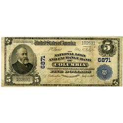 National Loan and Exchange Bank of Columbia, 1902 PB, $5, Ch# 6871 National Banknote.