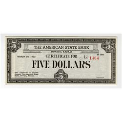 American State Bank, Oswego, Kansas, 1933 $5 Depression Scrip Note.