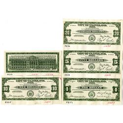 City of Cleveland, Ohio. 1933 Depression Scrip Proof Assortment.