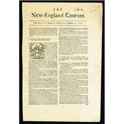 The New England Courant, No. 80, 1723 (Reprinted in 1856) Facsimile of First Paper Printed by Benjam