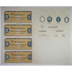 Jeffries Bank Note Company 1950-60's Traveler's Check Proof Quartet & Design Elements