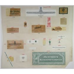 Jeffries Bank Note Company 1970-80's Proof Vignette Sheet and Advertising Elements.