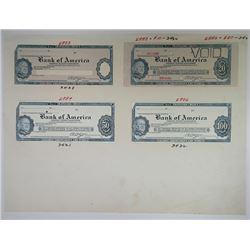 Jeffries Bank Note Company 1950-60's Traveler's Check Proof Quintet.