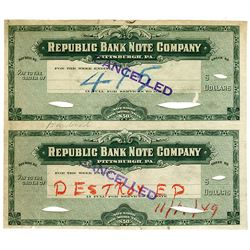 Republic Bank Note Company, ca.1900-1920 (plates destroyed in 1949) Uncut Proof Payroll Checks.