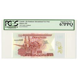 DuraNote - Polymer Test Note, ND (ca.1989-1993) Specimen.
