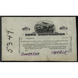 Cord Corporation, ca.1910-1920 Stock Certificate Proof