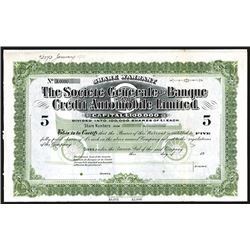 Societe Generale de Banque Credit Automobile Ltd. Ca. 1912 Specimen Share Certificate.