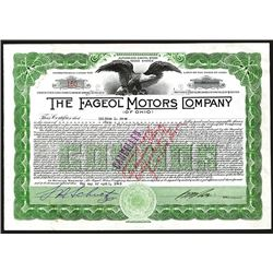 Fageol Motors Company (of Ohio), 1925 Stock Certificate.