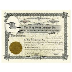 Gray Goose Airways, Inc., 1932 I/U Stock Certificate