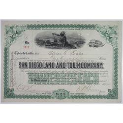 San Diego Land and Town Co., 1901 Stock Certificate.