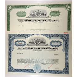 National Bank of Commerce in New Orleans 1968 Specimen Stock Certificate Duo.