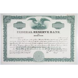 Federal Reserve Bank of Boston 1976 Specimen Stock Certificate.