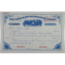"National Rockland Bank of Boston 1900-20 ""Santa Claus"" Specimen Stock Certificate"
