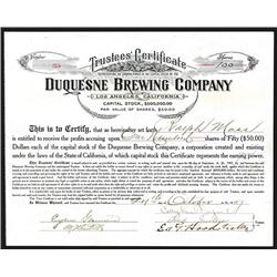 Duquesne Brewing Co., 1907 I/U Stock Certificate.