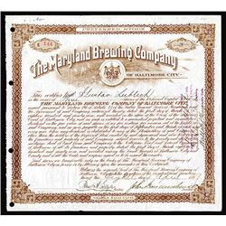 Maryland Brewing Co. of Baltimore City. 1899 I/U Stock Certificate.