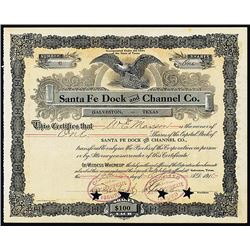 Santa Fe Dock and Channel Co. 1910 I/C Stock Certificate.