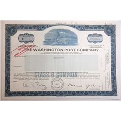 Washington Post Co., 1984 Specimen Stock Certificate With Facsimile Signature of Katherine Graham.