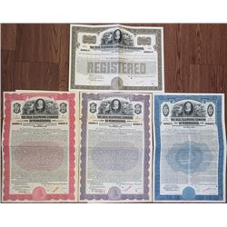 Bell Telephone Company of Pennsylvania, 1925 & 1941 Specimen Bond Quartet.