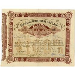 Sociedad Territorial La Plata, 1886 I/U Stock Certificate