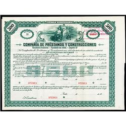 Compania de Prestamos Y Construccinoes Specimen Bond Certificate..