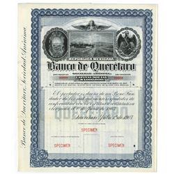 Banco De Queretaro, 1907 Specimen Bond.