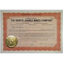 Benito Juarez Mines Co., 1907Stock Certificate.