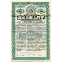Bonos Del Honorable Ayuntamiento del la Ciudad de Puebla de Zaragoza 1907 Specimen Bond.