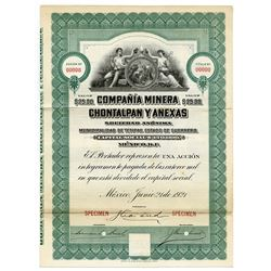 Compana Minera Chontalpan y Anexas, 1921 Specimen Bond