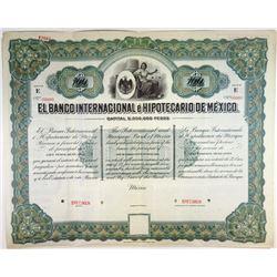 El Banco Internacional e Hipotecario De Mexico, ca.1900-1910 Specimen Bond.