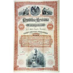 Republica Mexicana, Deuda Consolidada De Los Estados Unidos, Mexicanos, 1885 Specimen Bond.