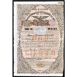 Republica y Mexicana, 1859, 100 Pesos 10% I/C Bond.