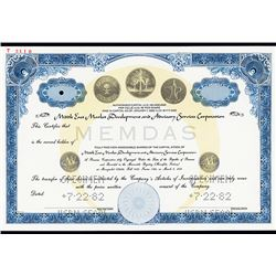 Middle East Market Development and Advisory Services Corp. 1982 Specimen Stock Certificate.