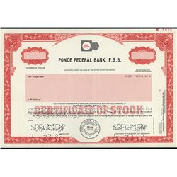 Ponce Federal Bank, F.S.B. Specimen Stock Certificate.