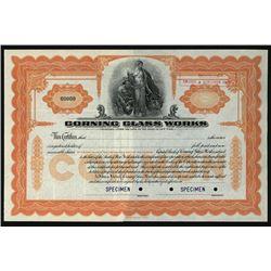 Corning Glass Works 1920-30's Specimen Stock Certificate..