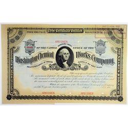 Washington Chemical Works Co., ca.1880s Specimen Stock Certificate.